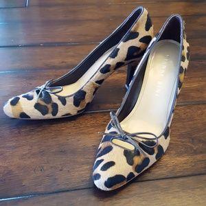 Gianni Bini Shelby Leopard Leather Calf Hair Heels